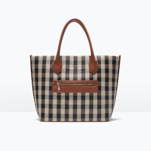 check-print-tote-bag